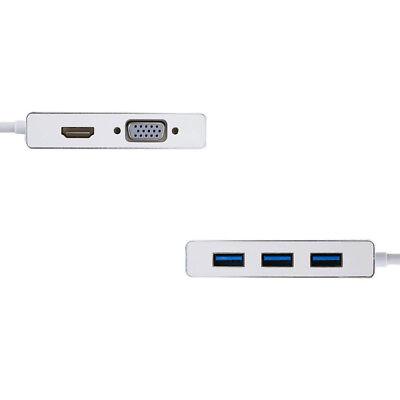 USB 3.1 Type C to HDMI VGA 3 Port USB 3.0 HUB Converter Adapter 8