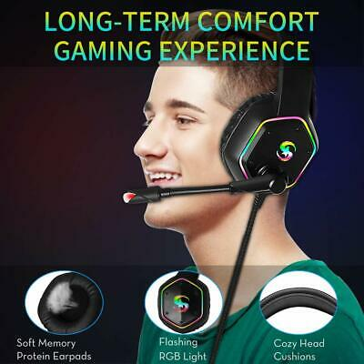 3.5mm Gaming Headset MIC LED Headphones for PC SW Laptop PS4 Slim Xbox One X S 5