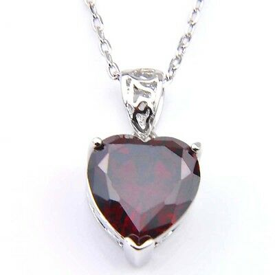 Genuine Natural Heart Fire Red Garnet Gemstone Platinum Plated Necklace Pendant 2
