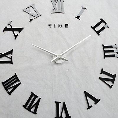 DIY 3D Wall Clock Roman Numerals Large Mirrors Surface Luxury Big Art Clock UK 7