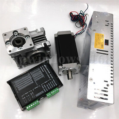 3NM Stepper Motor NEMA23 Drive Kit L112mm Worm Gear Reducer30:1&Power Supply CNC 6