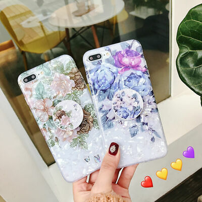 For iPhone XS Max XR 6s 7 8 Plus X Shell Flower Holder Stand Soft TPU Case Cover 9