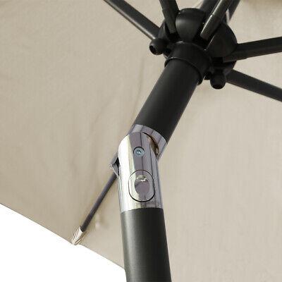 2.5M Round Garden Parasol Umbrella Patio Sun Shade Aluminium Crank Tilt 8