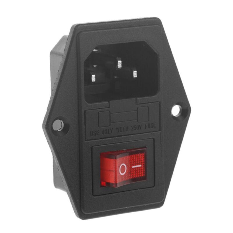 URBEST 10A 250V AC Rocker Switch 3 Pin IEC320 C14 Inlet Module Plug 5A Fuse 3