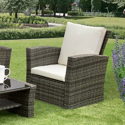 GSD Rattan Garden Furniture 4 Piece Patio Set Table Chairs Grey Black or Brown 8