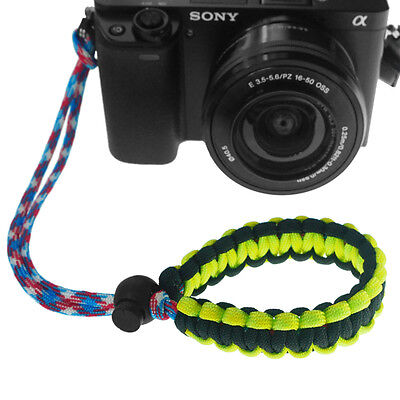 Yellow/Black Braided 550 Paracord Adjustable Camera Wrist Strap Bracelet 2
