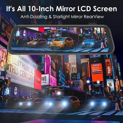 "AZDOME 10"" HD 1080P Dual Lens Car Dash Cam Recorder Mirror Touching Night Vision 2"