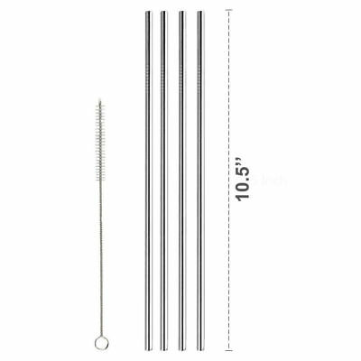4 Straight Reusable Drinking Straws Metal Stainless Steel Eco-Friendly 10.5in 9