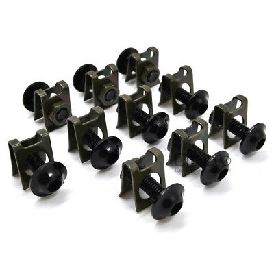 10PCS 6mm M6 Fairing Bolts Speed Fastener Clip Screw Nuts Motorcycle Universal 2