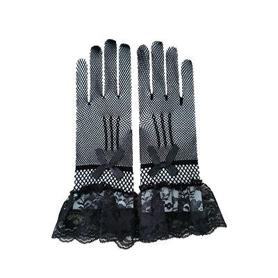 Ladies Fishnet Mesh Short Gloves Black Lace Bridal Evening Party Goth Burlesque 5