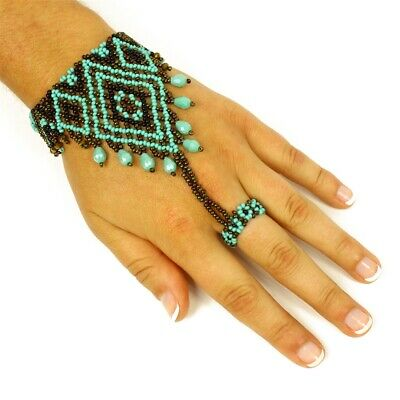 BR262 XO Ruby /& Turquoise Crystal /& Glass Beads Bracelet Artisan Magnetic Clasp