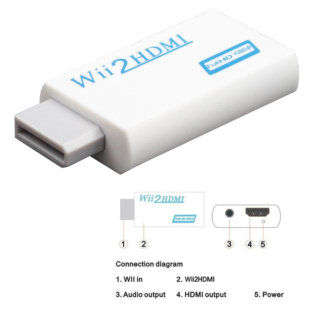 Wii To Hdmi Adapter Wii2hdmi 1080p Converter 3.5mm Audio Video Full HD Wii HDTV 10