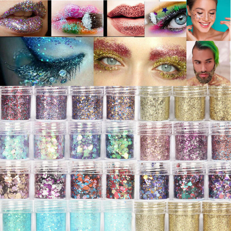 10g Mixed Holographic Flake Chunky Festival Glitter Nail Body Dance Face Tattoo 2