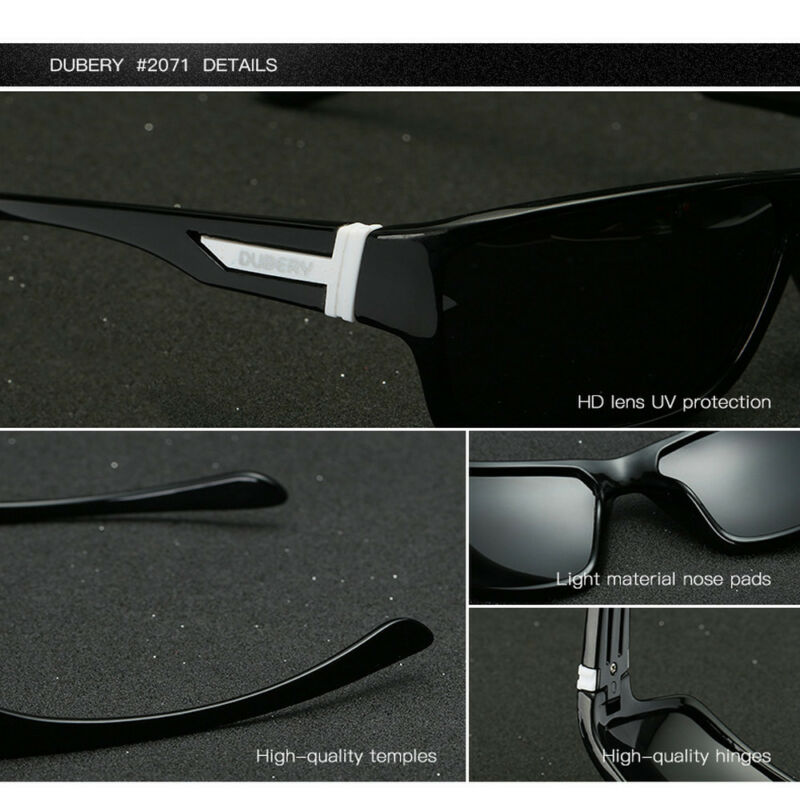 DUBERY Mens Sport Polarized Sunglasses Outdoor Riding Fishing Square Eyewear New 7