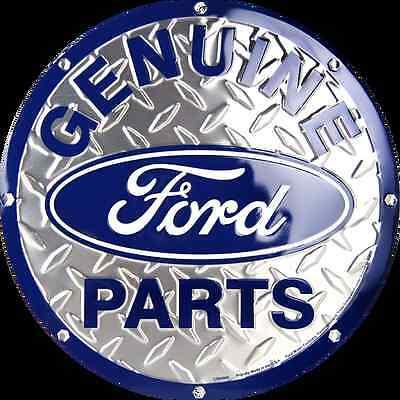 "Ford Genuine Parts 12"" Round Diamond Metal Tin Embossed Sign Logo Garage"