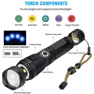 High Power 900000Lumens XHP50 Zoom Flashlight LED Rechargeable Torch Headlamp 3