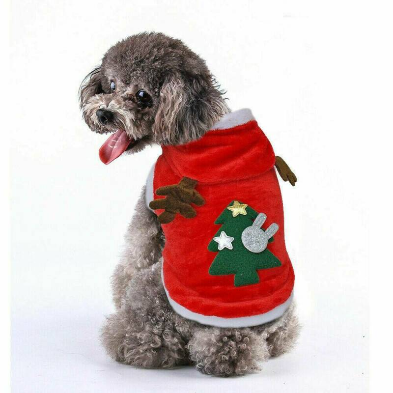 UK Pet Cat Dog Christmas Outfit Costumes Sweater Hoodie Dress Xmas Clothes Coat 7
