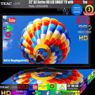 "TEAC 32"" Inch HD SMART TV Netflix Youtube WIFI PVR APP Made Europe 3 Yr Warranty 2"