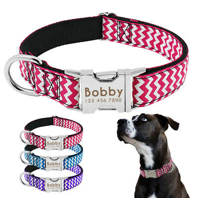 Small Large Personalized Dog Collar Customized Pet Name ID Bulldog Pitbull Boxer 2