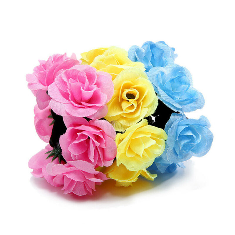 Girls Rose Flower Hair Band Elastic Rubber Hair Ties Three-dimensional Hair Rope 3