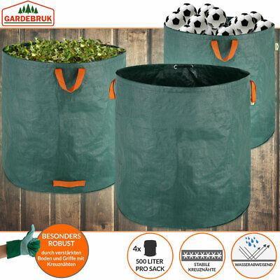 4x Sacs de jardin 500L 50 kg sac de déchets ordures tissu renforcé pliable 3