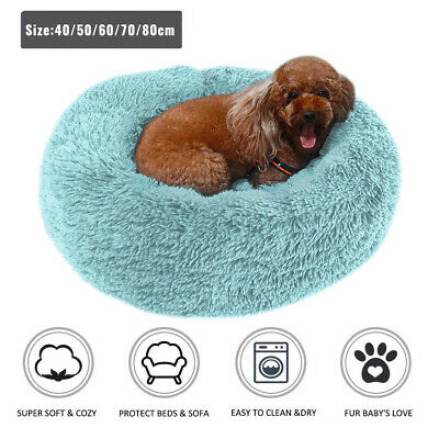 Comfy Calming Dog Cat Bed Pet Round Super Soft Plush Marshmallow Puppy Beds UK 4