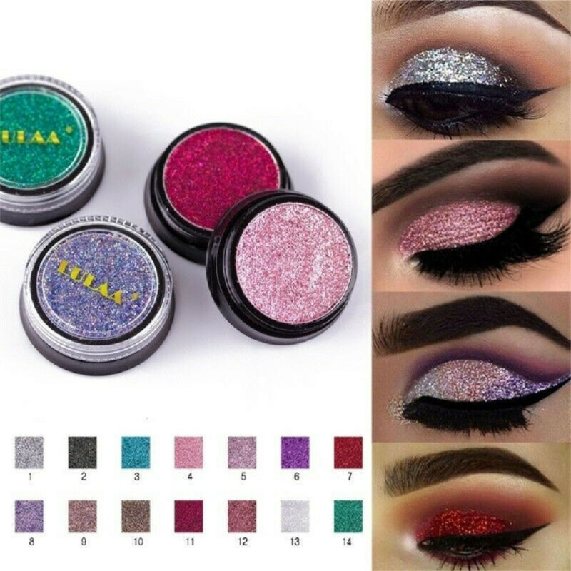 LULAA Cosmetic Glitter Eyeshadow Palette Shimmer Pigment Sparkly Make up Beauty 6