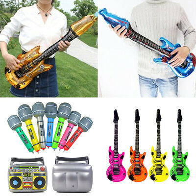 16X PVC Inflatable Guitar Microphone Lute Musical Instrument Kids Toy Party Prop