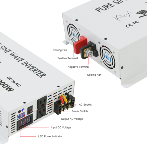 3500Watt Pure Sine Wave Inverter Solar Power Inverter 12V to 120V DC to AC Home 2