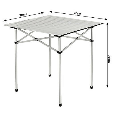 5 Of 6 ALUMINIUM FOLDING PORTABLE CAMPING TABLE ROLL TOP PICNIC GARDEN  PARTY 70x70cm