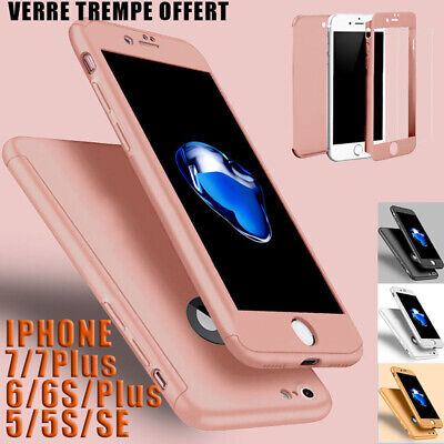 Coque Housse Total 360 Iphone 6 6S 7 8 5 Xr Xs Max Protection Vitre Verre Trempe 2