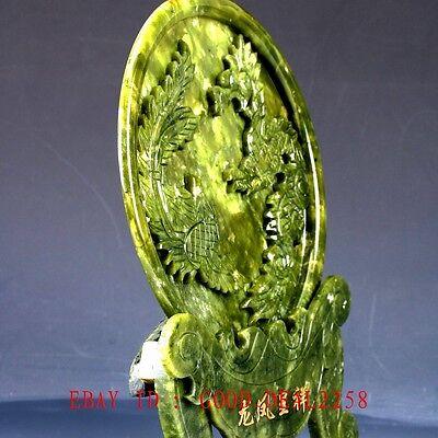 100% Natural Jade Handwork Carved Dragon & Phoenix Screen NYF01`a 5