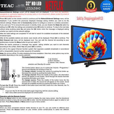"TEAC 32"" Inch HD SMART TV Netflix Youtube WIFI PVR APP Made Europe 3 Yr Warranty 4"