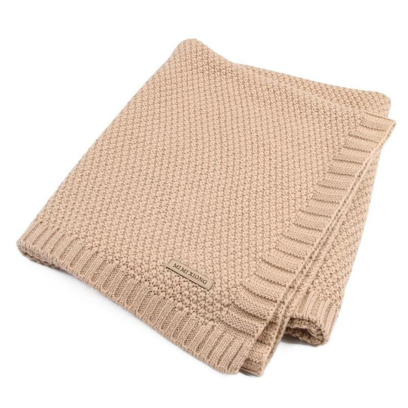 Solid Cotton Knitted Baby Blanket Soft Warm Cover for Boys Girls Kids 7 Colors 10
