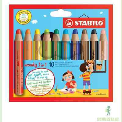 STABILO woody 10er Buntstifte 3-in-1 Multitalent Farbstift Wachsmalstifte 880/10 2