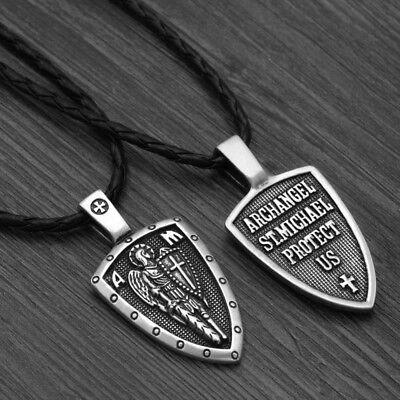 Archangel Saint St Michael Protect Us Medal Cross Shield Amulet Pendant Necklace 2