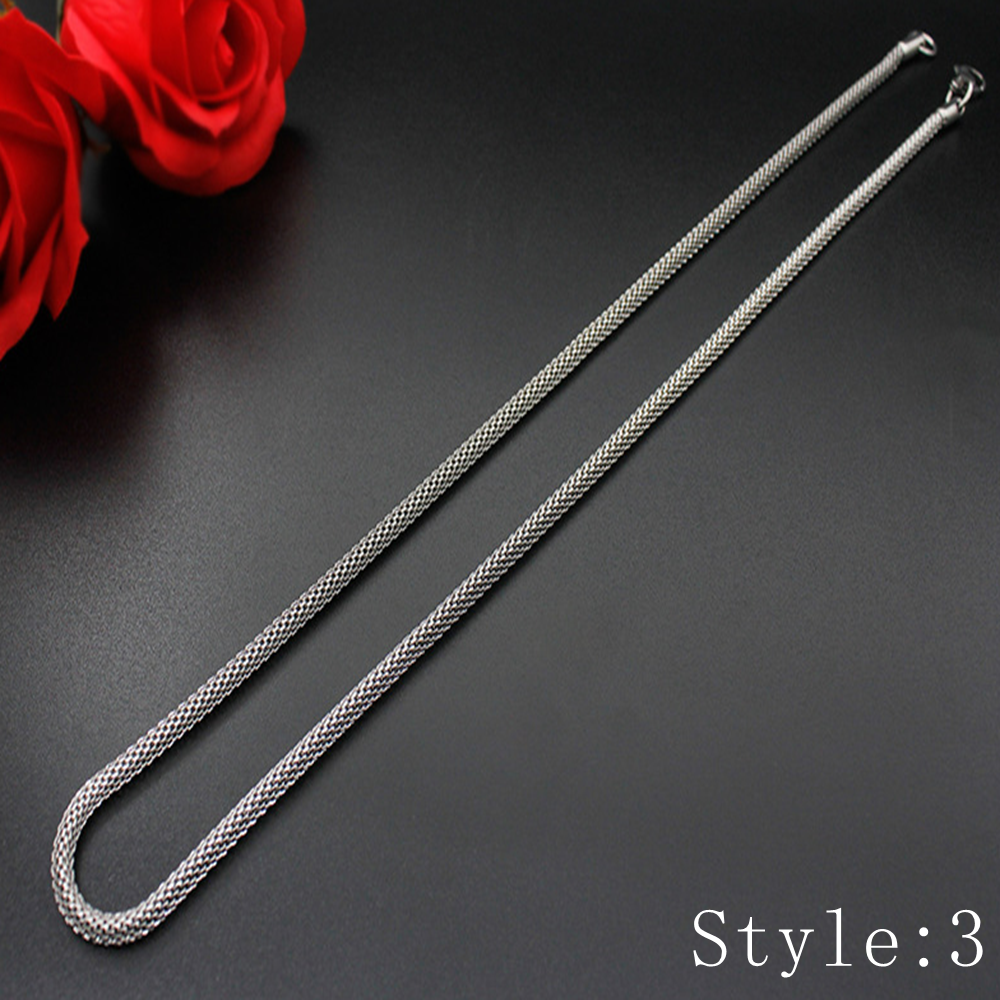 Gift Man Women Fashion 316L Stainless Steel 2mm-5mm Silver Chain Necklace 4