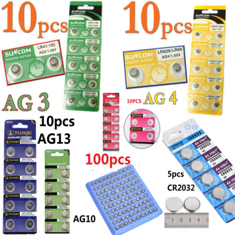Lots 5/10pcs AG1 AG3 AG4 AG10 CR2032 1.5V 3V Alkaline Button Coin Watch Battery 5