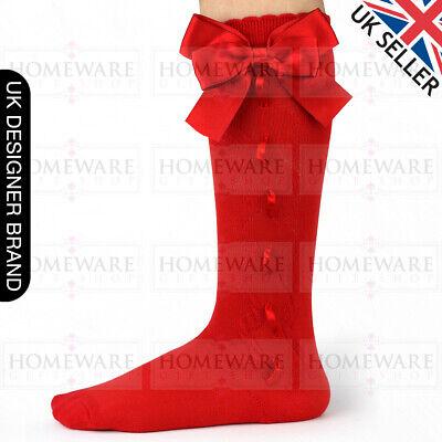 Girls Knee High Bow Socks Spanish Style Slotted Ribbon Socks Uk Designer Kids 2