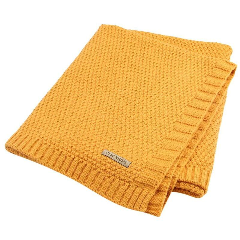 Solid Cotton Knitted Baby Blanket Soft Warm Cover for Boys Girls Kids 7 Colors 9