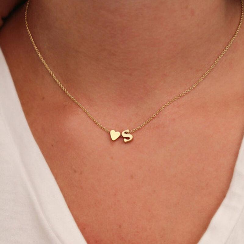 Mujer Collar De Cadena Gargantilla Colgante corazón 26 letras Joyería 7