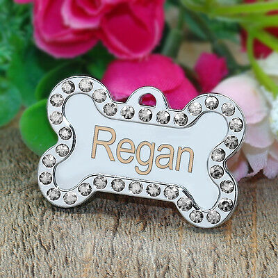 Personalized Dog Tags Engraved Cat Puppy Pet ID Name Collar Tag Bone/Paw Glitter 8