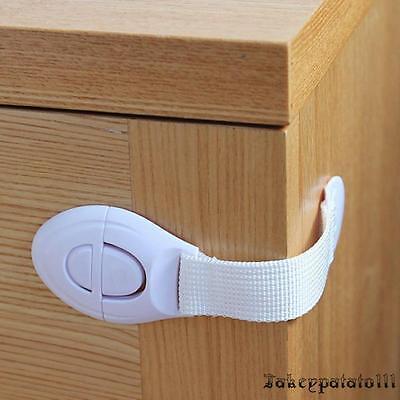 10X Child Adhesive Kid Baby Safety Drawer Door Lock Cupboard Cabinet Belt White 4
