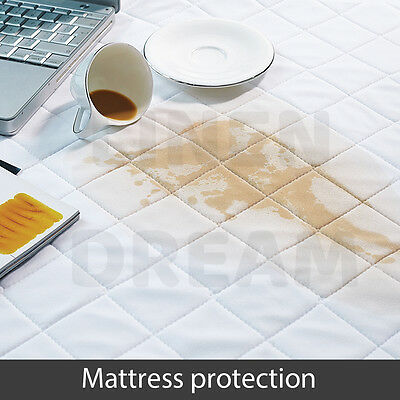 Aus Made Fitted Cotton Cover Quilted Mattress Protector Topper Underlay ALL SIZE 7