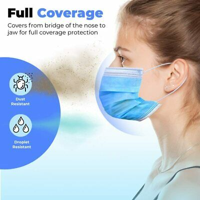 50 PCs Face Mask Medical Surgical Disposable 3-Ply Earloop Mouth Cover 6