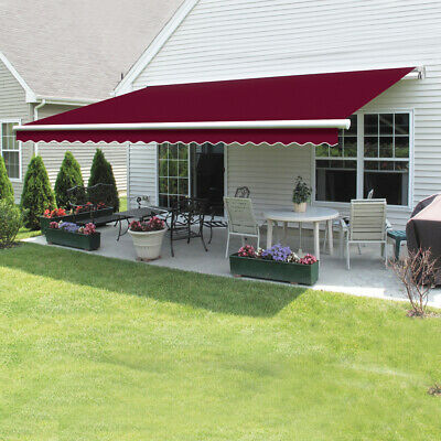 Retractable Awning Manual Outdoor Garden Canopy Patio Sun Shade Shelter 8 Colour 2