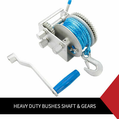 Hand Winch 2000KG/4410LBS 3 Speed Dyneema Rope Manual Car Boat Trailer 4WD 6