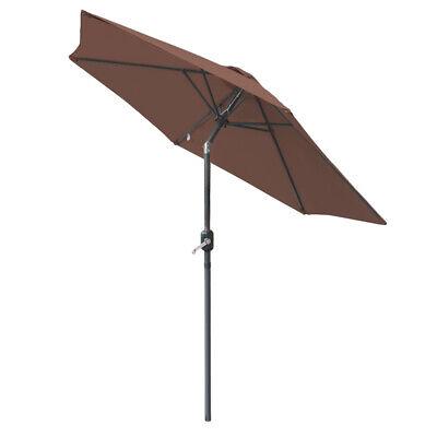 2.5M Round Garden Parasol Umbrella Patio Sun Shade Aluminium Crank Tilt 4