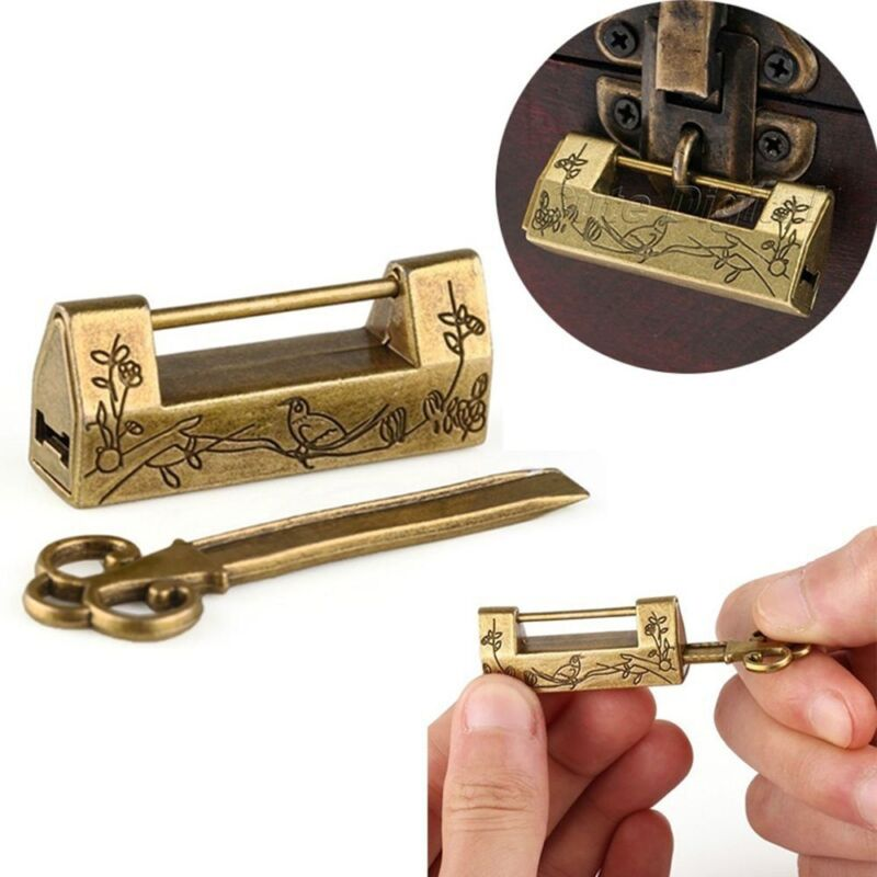 Chinese Vintage Antique Lock Old Style Lock and Key Brass Carved Word Padlock 8