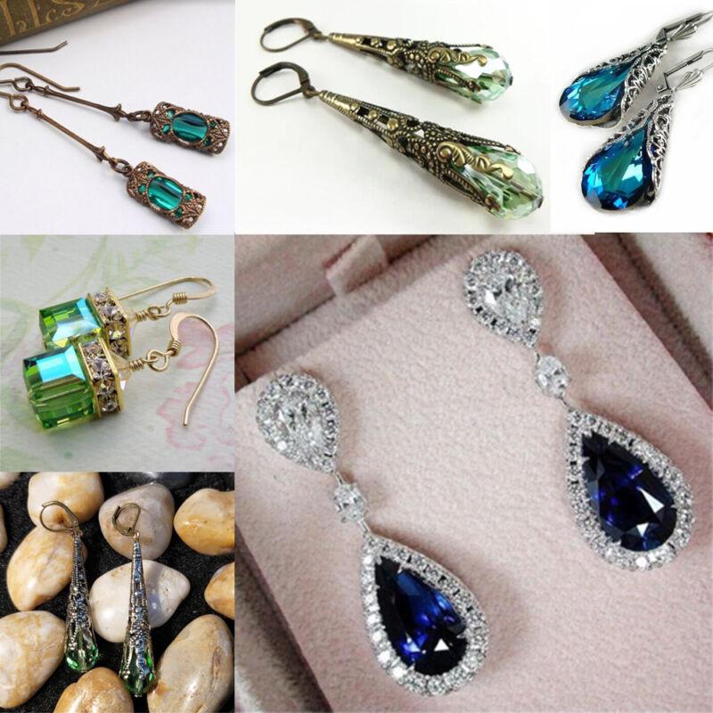 1 paire  Peridot Naturel Saphir Bleu Dangle Boucles D'oreilles Bijoux Vintage 2